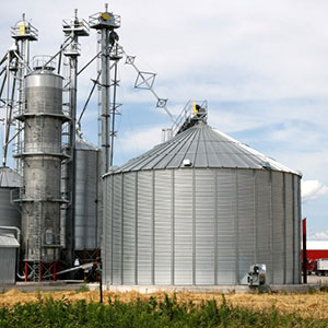 Grain elevators and storage bins